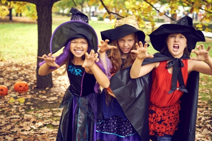 Three spooky little witch scaring you